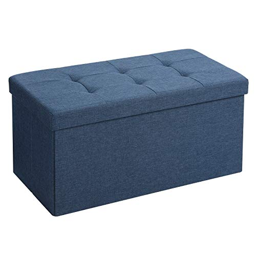 SONGMICS Storage Ottoman Bench, Chest with Lid, Foldable Seat, Bedroom, Hallway, Space-Saving, 80L Capacity, Hold up to 660 lb, Padded, Navy Blue ULSF47IN