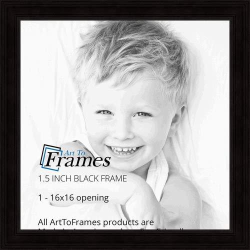 ArtToFrames WOM0066-78238-YBLK-16x16 Barnwood Wood Picture Frame, 16 x 16, Black by ArtToFrames