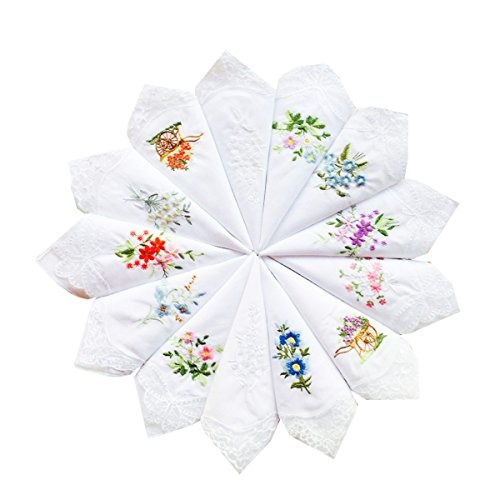 UQ Flower Bow Embroidered Corner Lace Wedding Party Cotton Hankerchiefs