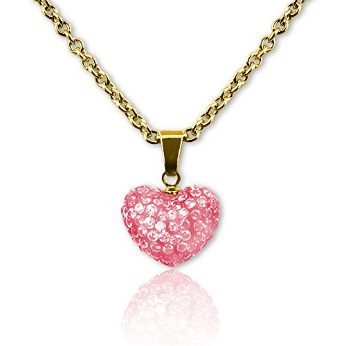 18k Gold Plated Crystal Heart Necklace | Kids Jewelry Heart Necklace for Girls, Cute Heart Necklace for Kids - Puffed Heart Pendant Necklace Crystal Necklace for Kids | Puffed Heart (Dangling Heart Pendant)