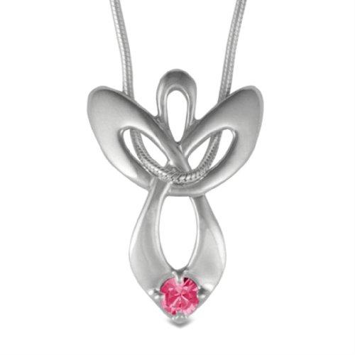 "Loving Family Sterling Silver October Swarovski Crystal Guardian Angel Necklace - 16"" Long"