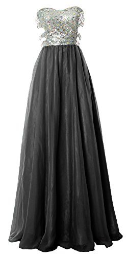 MACloth Fitted Sweetheart Long Cutout Sequin Prom Evening Dress Formal Ball Gown Negro