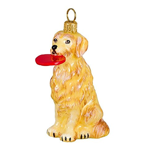 Golden Retriever with Frisbee Polish Blown Glass Christmas (Retriever Glass Ornament)