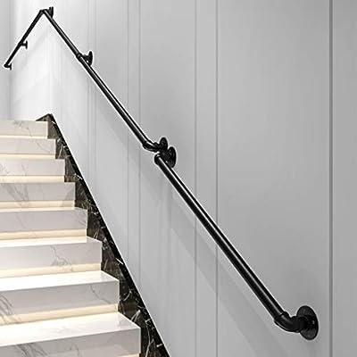Barandillas de Escalera Hierro Forjado Pasamanos Interior y Exterior del Canal, apoyabrazos de Tubo Negro, Baranda de Escalera de Pared, 50-500cm Opcional: Amazon.es: Hogar
