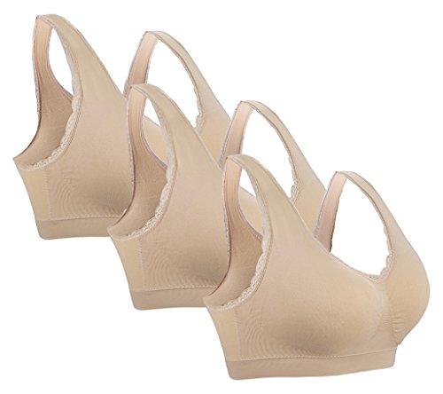 3 Pack Plus Size Sleep Bras for Women Medium Nude