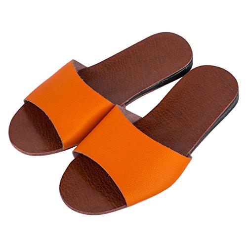 Haisum 8804-w - Zapatillas de estar por casa de piel sintética para hombre naranja