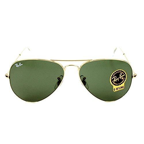 Ray-Ban Gold Classic Aviator Rb3025 L0205 58mm + Free Shadesdaddy - L0205 Ban Ray