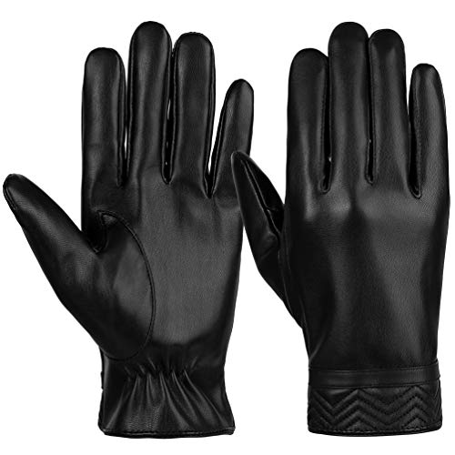 VBG VBIGER Men Winter Gloves Warm All Fingers Touch Screen Gloves PU Leather Gloves Fleeced Driving Motorcycle Gloves Black