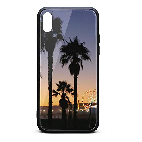 Cute Phone Case for iPhone X Beach Tumblr Palm Rubber Frame Tempered Glass Covers Protective Scratch-Resistant Skid-Proof Never Fade Mobile Cases Fancy