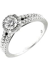 1.05 Ct White Gold Diamond Halo Engagement Ring 18 Kt