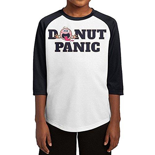 Paplo Youth Donut Panic 3/4 Sleeve Baseball Raglan 100% Cotton T Shirt Size M