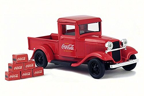 1934 Ford Model A Pick-Up w/ 6 Bottle Cartons, Red - Motorcity Classics 443743 - 1/43 Scale Diecast Model Toy Car