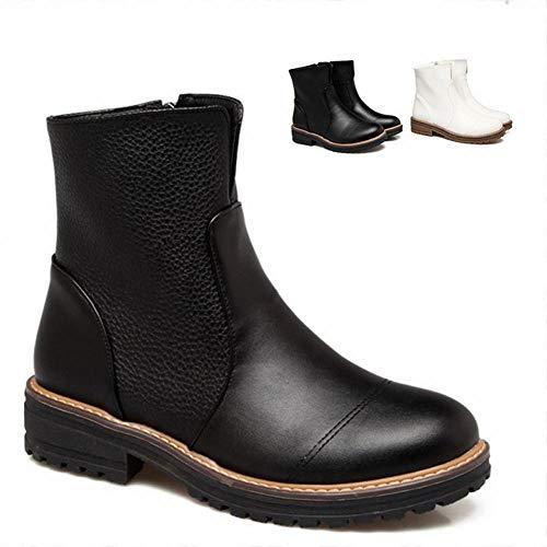 Cálido Invierno Otoño Xdx Nieve Retro cremallera Antideslizante Mujer Botas Negro 43 Zapatos E literario Botas De 34 qxwHAgFXwY