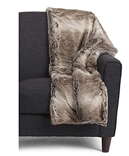 Tahari Faux Fur Throw With Gift Box - Luxe Alaska Faux Fur Throw - Beige Tan Cream Brown Pattern 50 x 60 IN
