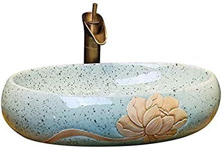 サファイアロータス上記カウンター盆地オーバルセラミック洗面台家庭用洗面カウンター盆地洗面台のバスルームシンク