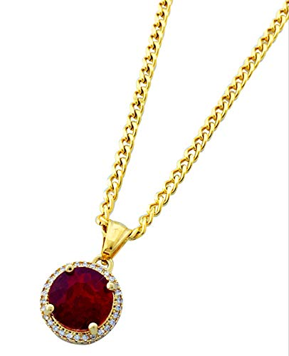 Red Stone Jewel - Gold Stainless Steel Round Ruby Pendant Necklace with 24