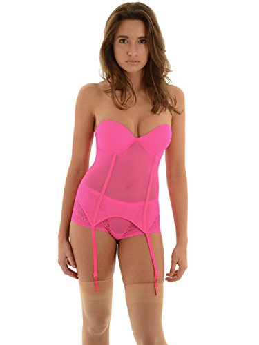 Womens Strapless Bustier Bra Neon Pink Garters Sheer Lace Skirted G String Set Sizes: Large