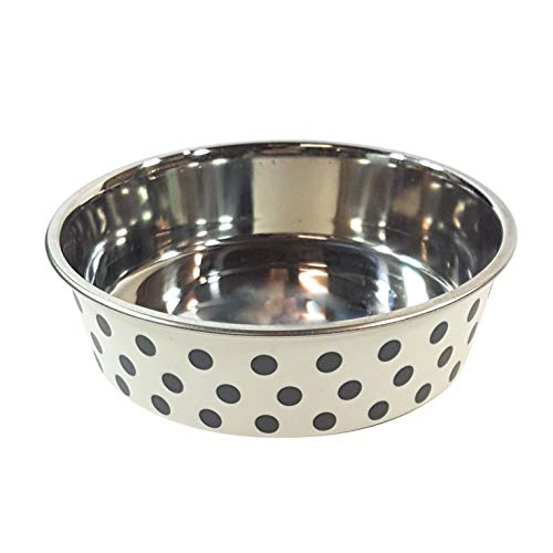 - 2 X MEDIUM STAINLESS STEEL RUBBER POLKA DOT FOOD WATER DOG PET BOWL