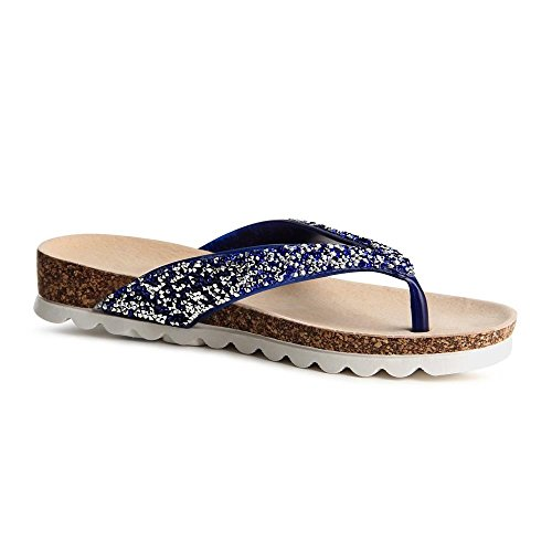 topschuhe24 805 Sandalen Zehentrenner Glitzer Blau