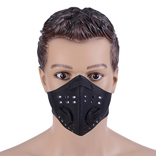 ZUKAM Anti Dust Masks Anti Pollution Mask Carbon Filtration Exhaust Gas Anti Pollen Allergy PM2.5 Face Mask with Adjustable Strap For Cycling Running Hiking Motorcycle (Black)