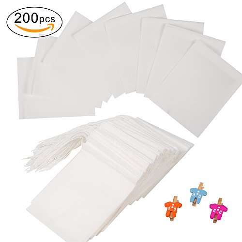 200 Pcs Tea Filter Bags, Longlida Disposable Tea Infuser with Drawstring for Loose Leaf Tea, Herb, Coffee, Empty Tea Bags with 3 Free Clips(1-Cup Capacity, 3.86 x 3.23 Inch, White)