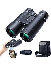 12x42 Dakprismaverrekijker voor volwassenen, draagbare en waterdichte compacte verrekijker met weinig licht nachtzicht, BAK4-prisma FMC-lens HD Clear View voor vogels kijken, jagen, reizen, concerten