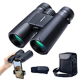 12x42 Roof Prism Binoculars for Adults, Portable and Waterproof Compact Binoculars with Low Light Night Vision,BAK4 Prism FMC Lens HD Clear View for Bird Watching, Hunting, Travel, Concerts