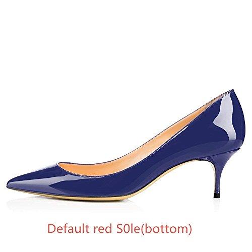 Red Pumps Office 65MM On Heels bottom Pointed Kitten 5 Heels Low Navy 14 US Women's Toe Chris T Blue S0le Slip gPUcfq