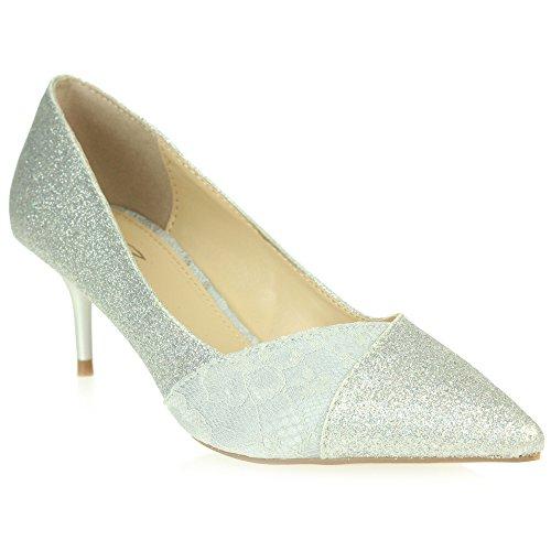 Frau Damen Abend Hochzeit Party Funkeln Spitze Braut Abschlussball Schlüpfen Mid Heel Court Schuhe Größe Silber
