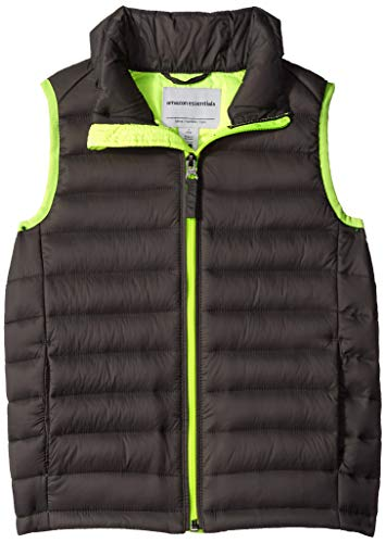 Amazon Essentials Boys' Lightweight Water-Resistant Packable Puffer Vest, Grey With Neon Yellow, XX-Large