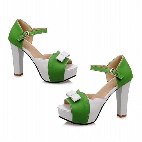 Carolbar Chique Damesgesp Geassorteerde Kleuren Strikken Zomer Elegantie Platform Ruige Hoge Hak Sandalen Groen