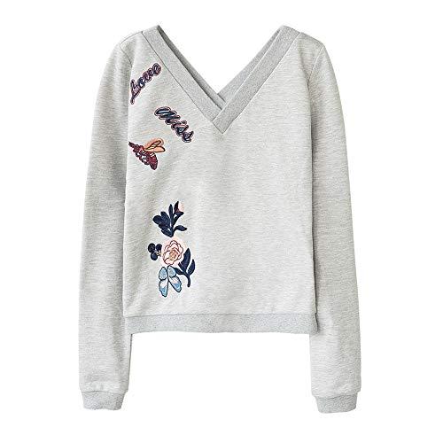 Dabuwawa Women Grey V Neck Floral Embroidery Warm Causal Fashion Sweatershirts from Dabuwawa