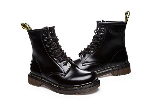 ohne Markenname Unisex - Erwachsene Lace up Schuhe Plateau Stifeletten Halbschaft Stiefel Gr.35-43 Schwarz Kunstfell 02