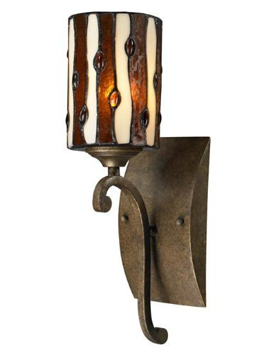 (Dale Tiffany TW12442 Diamond Hill Wall Sconce, Antique Golden Bronze )