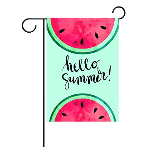 Cool House Flag - Cool Mint Green Hello Summer Watercolor Paint Watermelon Garden Flag Home Decor Double Sided 28 x 40