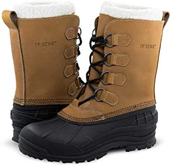 Men's Leather Waterproof Winter Snow Skid Boots,Classic Felt Lined Warm Snow Duck Boots for Men