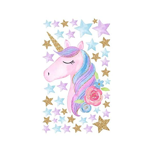 Cocobee Unicorn Wall Stickers Rainbow Colours Wall Stickers Stars Wall Decals for Girls Baby Children Bedroom Playroom… 6