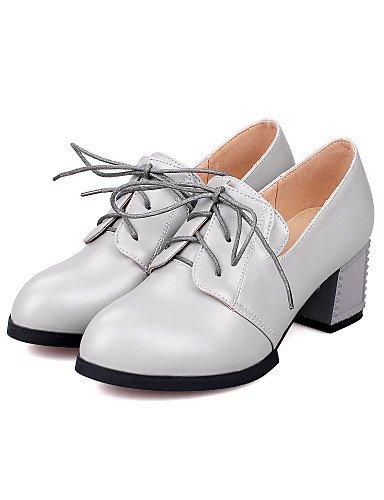 Cn39 tacones negro Zapatos Gray Eu39 tacones us8 Plata us5 Uk6 Mujer Cn34 Robusto vestido Uk3 Gris Silver Redonda De tac¨®n Punta Zq semicuero Eu35 UXPqdX