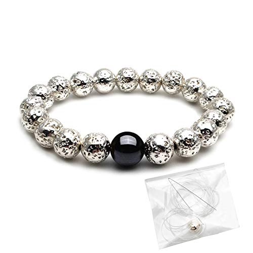 Plated Beaded Silver Bracelet Stretch (Morchic Silver Color Lava Rock Stone Stretch Beaded Bracelet for Men Women 8