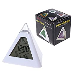Upupo Triangle Pyramid Timer, 7 Color Change LED Alarm Digital LCD Clock Thermometer