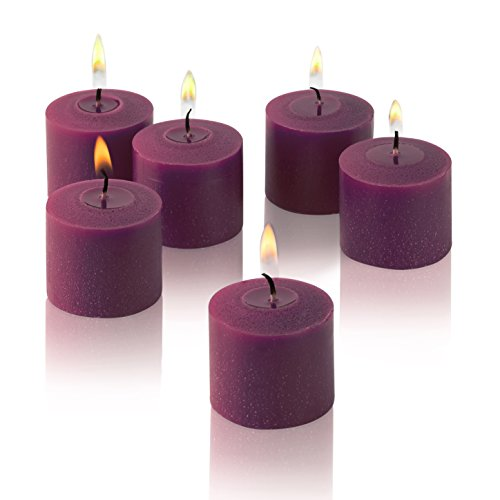 Light In The Dark Purple Votive Candles - Box of 12 Unscented Candles - 10 Hour Burn Time - Candles for Weddings, Parties, Spas and Decorations