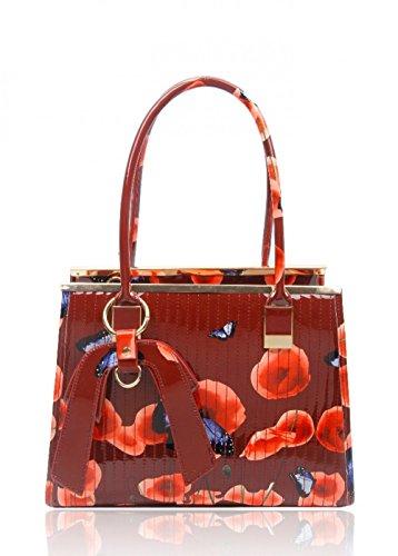 Mujer Hand Craze Sintética Burgundy Al Bolso Para De Bag London Piel Hombro wgwq8Hv