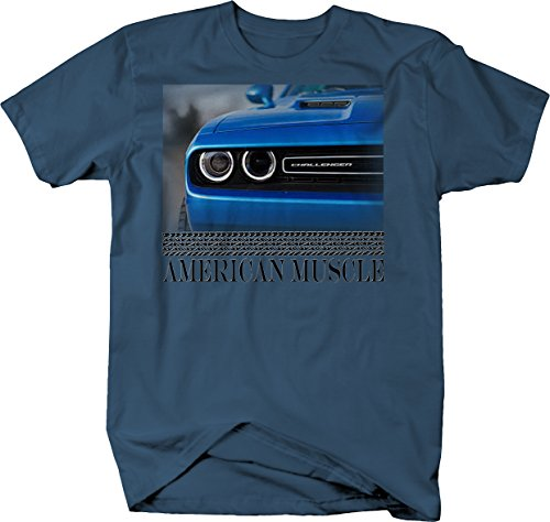 American Muscle Dodge Challenger Blue Grill Halo Headlights Mopar Tshirt - 3XL