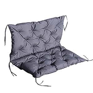 Outsunny-Cojín con respaldo para asiento de balancín de 2plazas (tejido Oxford, 98x 100x 8cm), color gris