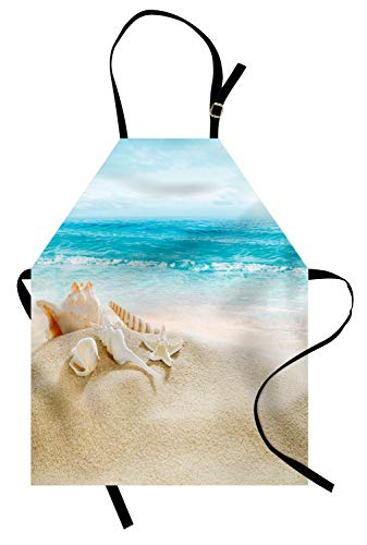 Ambesonne Seashells Apron, Pastel Toned Beach Scene with Sand and Waves Summer Season Holiday Vacation Theme, Unisex Kitchen Bib with Adjustable Neck for Cooking Gardening, Adult Size, Multicolor