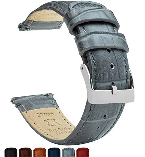Barton Alligator Grain - Quick Release Leather Watch Bands - Choose Color - 18mm, 20mm & 22mm - Smoke Grey 22mm Strap ()