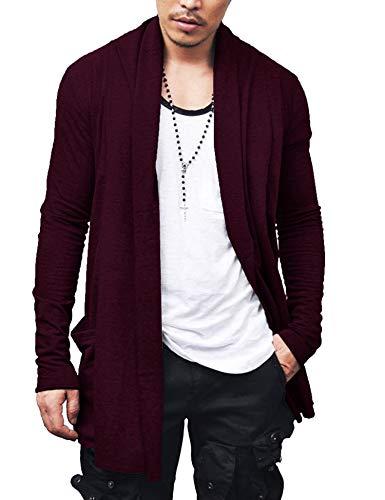 COOFANDY Men's Christmas Shawl Collar Cardigan Cotton Blend Long Length Drape Cape Xmas Sweater Overcoat Wine Red XX-Large