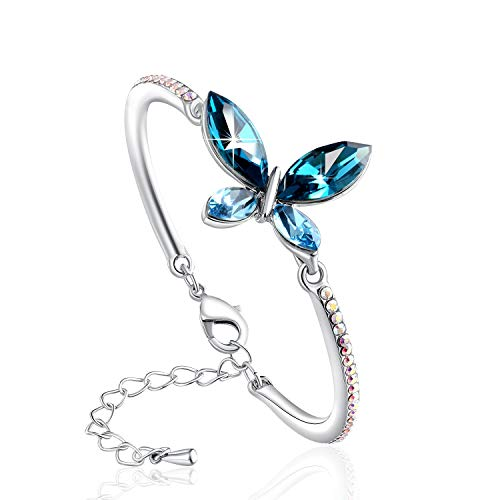 (PLATO H Crystal Butterfly Bracelet Love Butterfly Bracelet for Mom, Women Fashion Jewelry with Swarovski Crystals, Blue Crystal Bracelet)