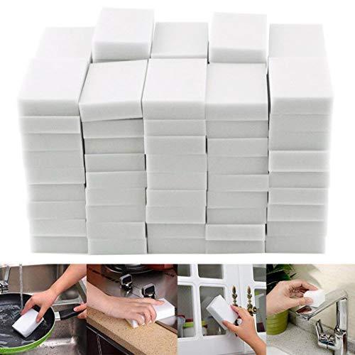 Oineke 50Pcs Magic Cleaning Eraser Sponge, 50 Counts Melamine Sponges in Bulk - Multi Surface Power Scrubber Foam Pads - Bathtub, Floor, Baseboard, Bathroom, Wall Cleaner
