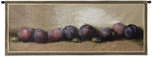 Nature's Bounty I by Judith Levi | Woven Tapestry Wall Art Hanging | Ripe Plums and Grapes Kitchen Dining Room Home Decor | 100% Cotton USA 22X53